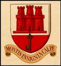 "Coat of Arms with text ""Montis insignia calpe"" (Latin: ""Badge of the Rock of Gibraltar"")"
