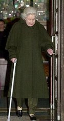 Queen Elizabeth II leaving hospital after having a knee operation in late