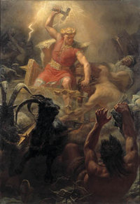 Thor's battle against the giants, by Marten Eskil Winge, 1872