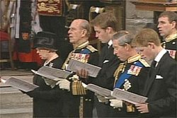 At the funeral of , : from left: Queen Elizabeth II, , , , ,