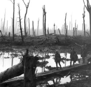 Gunner James Fulton, Lt Anthony Devine and other soldiers (names unknown) from the , on a  track through the devastated Chateau Wood, near , in the Ypres , on October 29, 1917. (Photograph by James Francis Hurley.)
