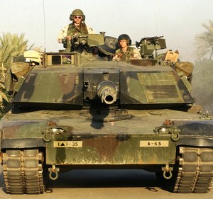 The US  tank is a typical modern main battle tank.  The  is low-profile, well-integrated into the overall shape of the vehicle.