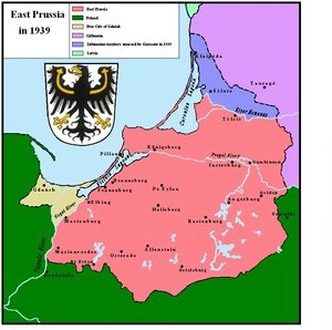Map of East Prussia in 1939