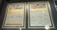 The Nobel Prize diploma of Sir Henry H. Dale, displayed in the Royal Society, London.